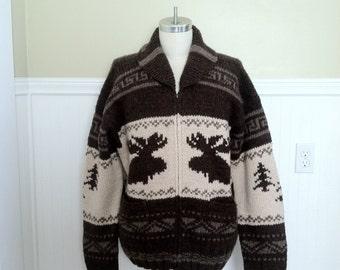 Ralph Lauren Sweater Hand knit Wool Cowhichan Reindeer Moose Cardigan Vintage Snow Stag Navajo Nordic Ski Sweater Holiday Sweater