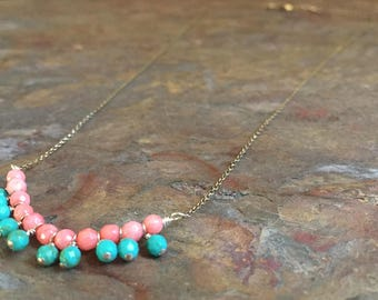 Coral and turquoise gemstone silver necklace