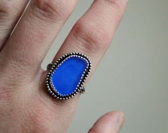 SALE // Cobalt Blue Sea Glass Ring, Sterling Silver, Size 8