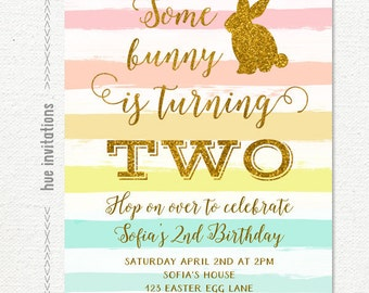 bunny birthday invitation, rainbow easter birthday party invitation, some bunny is turning 2 gold glitter rabbit 2nd birthday invitation