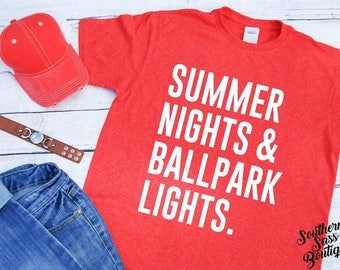 Summer nights and ballpark lights, Summer shirt, Softball mom, Baseball mom, Softball shirt, Baseball shirt, Mom life, Baseball, Softball