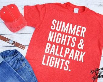 Summer nights and ballpark lights, Summer shirt, Softball mom, Baseball mom, Softball shirt, Baseball shirt, Mom life, Baseball, Softball