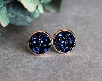 Navy Blue Stud Earrings, Rose Gold Earrings, Blue Rose Gold Earrings, Navy Blue Earrings, Dark Blue Earrings, Dark Blue Stud Earrings 10MM