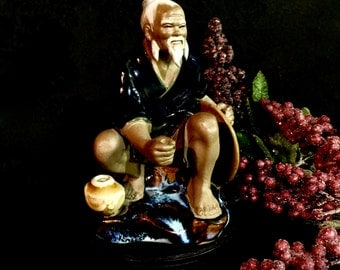 Chinese mudman Shiwan figurine sculpture fishing mid century