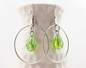 Teardrop earrings - Green dangle earrings - green crystal - teardrop jewelry - green teardrop dangle earrings - green disco party earrings