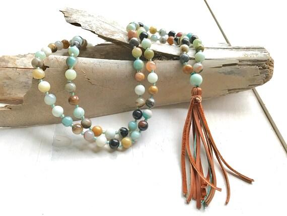Leather Tassel Mala Beads, Amazonite Mala Necklace, 108 Bead Mala, Boho Chic Mala Beads, Yoga Mantra Mala, Hand Strung Mala Beads