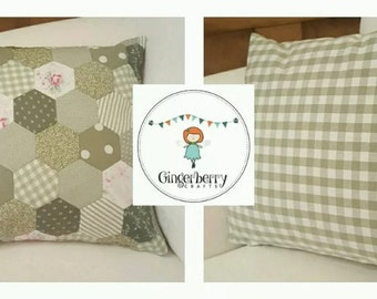 Gingerberry hexagon patchwork cushion cover in sage greens backed with Laura Ashley gingham