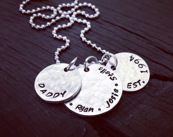 Dad & Year Established Metal Hammered 3 Piece Necklace | Children's Names And Date | Father's Necklace | Father's Day Gift | Gift For Dad