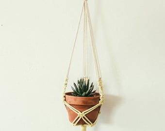 S A L E yellow naturally dyed macrame plant hanger