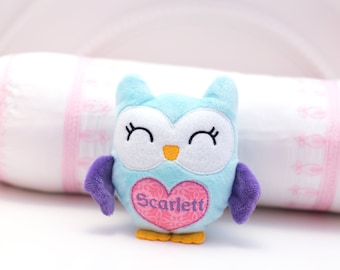 Owl Plushie, Personalized Plush Baby Gift, Owl Plush, Stuffed Animal for Baby Girl, Kawaii Plushies, Stuffed Animal with Name Embroidered