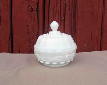 Vintage White Milk Glass Round Covered  Candy Dish, Grape Pattern, Marked Top & Bottom WG, Westmoreland