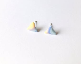 Sunrise Triangle Earrings - Ceramic earrings - Post earrings - Stud earrings - Marble earrings - Marble ceramic earrings - Clay earrings