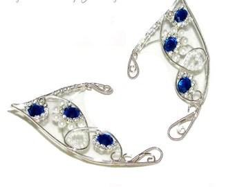 Fairy Ears - Royal, Blue Fairy, fairy costume, Elven Wedding, fairy ear cuff, fairy ear wraps, fairy cosplay, LARP, elvish jewelry