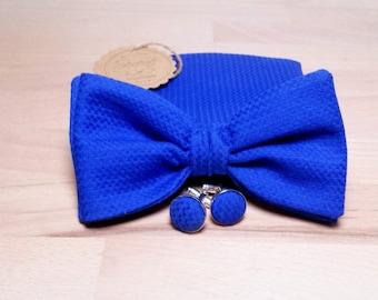 Gentlemen set, electric blue bow tie, electric blue pocket square, electric blue cufflinks, groom set ,wedding gift, Serené Handmade