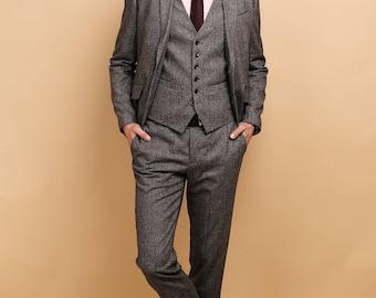 Mens tweed 3 piece SUIT | wool vested suit | mens grey tweed suit | mens purple tweed tailored suit
