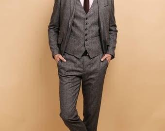 Mens 3 piece suit in grey purple tweed
