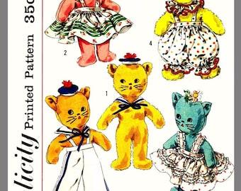 Simplicity Stuffed Toys W / Wardrobe Bunny Cat Dog Fabric Sew Pattern # 1843