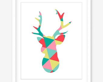 Printable deer art - geometric deer print - deer wall art - deer head printable - INSTANT DOWNLOAD