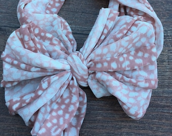 Mauve Cheetah Messy Ruffle Bow