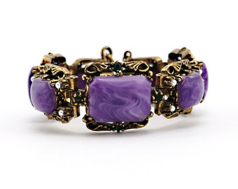 Intricately Detailed Vintage Chunky Bracelet With Purple Swirl Cabochons