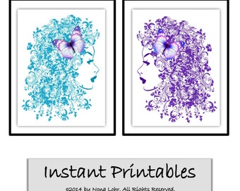 Printable Wall Decor Purple Aqua Art Print Modern Abstract Woman Flower Hair Salon Nail INSTANT DOWNLOAD Digital Picture 8x10 inches