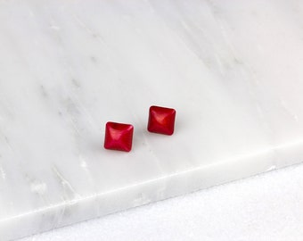 Square Coral Earring/ Square Coral Studs/ Red Coral Earrings/ Coral Stud Earrings/ Silver Coral Earrings