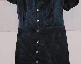 Vintage Black Satin Shirt Dress Button Front 16 XL Short Sleeve Sheena Fashions Rayon Acetate
