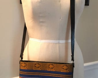 Vintage handbag, cross body bag, kente cloth tote, African fabric, leather purse,
