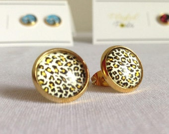 Charming Gold Leopard Stud Earrings on Golden Stainless Steel