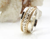 Spinner Ring, Meditation Ring, Worry Ring, Fidget Ring, Wedding Ring, Wedding Band,Anniversary Ring, Silver Gold Ring