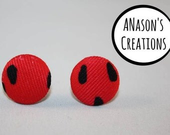 Watermelon Fabric Covered Button Stud Earrings - Hypo-Allergenic Surgical Steel