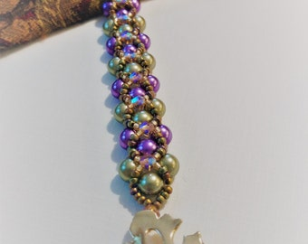 Crystal and Pearl Woven Bracelet - Green and Purple