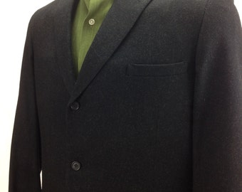 "1950's 3 Button Suit / Black with Gray Flecked Wool / Pleated Baggie Pants / Men's Size: 42Long  36""Inch Waist / DEAD STOCK"