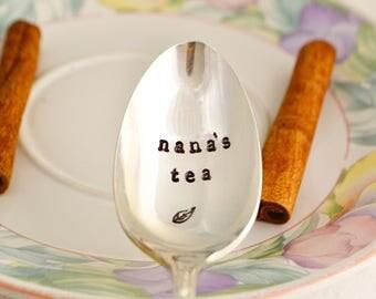 nana's tea, teaspoon -silver plated, Mother's day gift, gift for nana.