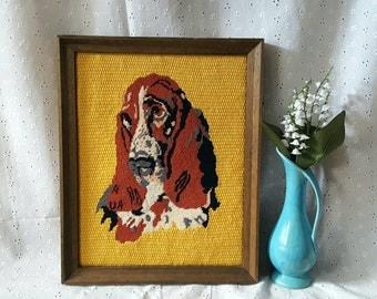 Vintage Dog Needlepoint, Framed, Basset Hound, Dog Portrait Wall Hanging