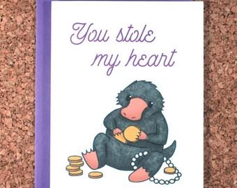 Harry Potter Valentine Card / Niffler you stole my heart / Newt, Valentine, love card, niffler card, fantastic beasts