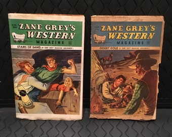 Two 1948 Zane Grey's Western Magazines - Desert Gold 9 (Aug)  - Stairs of Sand (June)