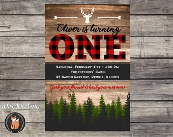 Printable 4x6 Lumberjack Buffalo Plaid Rustic 1st Birthday Invitation or 2nd Birthday Invitation - Customizable