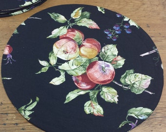 6 Placemats: Round Quilted, Black Cotton Fabric, fruit motif plums peaches
