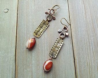Long Rectangular Statement Mixed Metal Earrings Textured Copper Brass Sardonix Earrings Rustic Boho Earthy Earrings Birthday Gift for Her