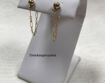 Pretty Simple Elegant Oval Chain Stud Hanging Earrings in 14k Yellow Gold