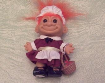 Russ Berrie Thanksgiving Pilgrim troll orange hair basket of apples