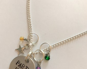 "Disney World Parade Show Move It Shake It Dance and Play It Inspired Hand-Stamped Necklace - ""Party Up!"""