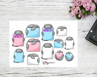 Planner stickers supercute manatee boxes, different boxes with manatees
