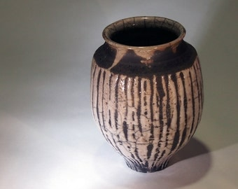 White striped raku vase
