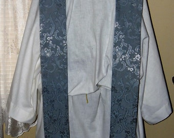 Special Buy! Blue Advent with SILK lining Nice Marian  Clergy Stole Priest Vestment Anglican Catholic Lutheran Methodist Episcopalian