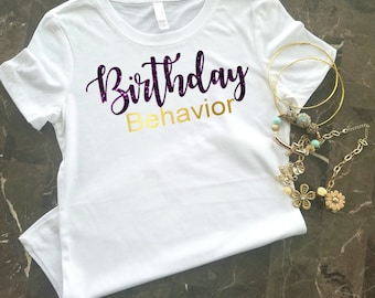 Birthday T-Shirt, Birthday Shirt For Women, Birthday Girl Shirt, Purple Glitter and Gold, Birthday Shirt, Birthday Girl