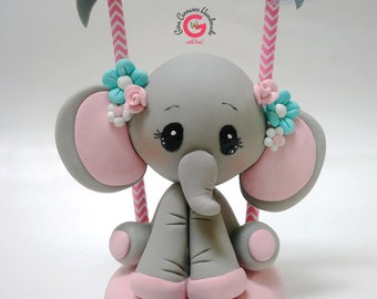 Elephant Cake Topper, Baby Shower Elephant, Babyu0027s First Birthday, Birthday  Circus Elephant Centerpiece, Personalized Gift, Cold Porcelain