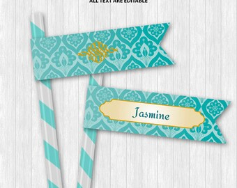 Jasmine Straw Flags