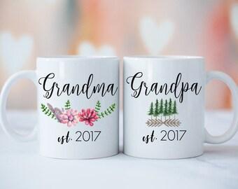 Grandparents Mug Set, Grandma Grandpa Mugs, Baby Announcement, New Grandparents, Grandparents Gift, Succulent Trees Grandma Grandpa Mug Set